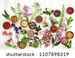 herbs and flowers used in...   Shutterstock . vector #1107898319