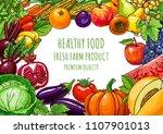 fresh fruits vegetables... | Shutterstock .eps vector #1107901013