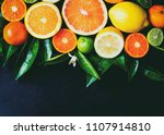 citrus background. assorted... | Shutterstock . vector #1107914810