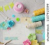 scrapbook card making tools ... | Shutterstock . vector #1107915599
