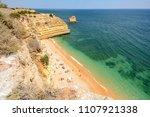 algarve portugal  huge rocks at ... | Shutterstock . vector #1107921338