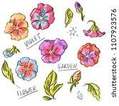 set illustration with violet... | Shutterstock .eps vector #1107923576