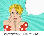 the doubting blonde bites her... | Shutterstock .eps vector #1107936650