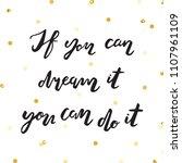 ink lettering and gold glitter... | Shutterstock .eps vector #1107961109
