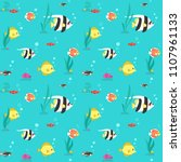 colorful fish and seaweed flat... | Shutterstock .eps vector #1107961133