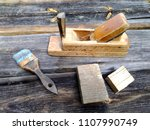 old vintage joinery tools on a... | Shutterstock . vector #1107990749