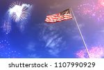 american flag and flagpole with ... | Shutterstock . vector #1107990929