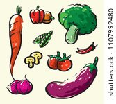 vegetables sketch elements | Shutterstock .eps vector #1107992480