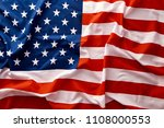closeup of american usa flag ... | Shutterstock . vector #1108000553