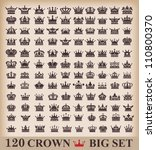 Crown. Big set. Collection icons. Vector. Vintage