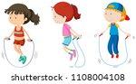 set of children skipping...   Shutterstock .eps vector #1108004108