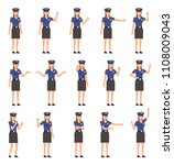 set of policewoman characters... | Shutterstock .eps vector #1108009043
