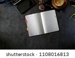 notebook diary on leather desk. | Shutterstock . vector #1108016813
