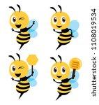 cartoon cute bee mascot series. ...   Shutterstock .eps vector #1108019534