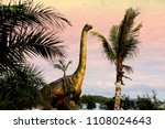 dinosaurs portrait.Sauropods Dinosaur  on beautiful landscape background.
