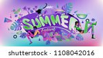 vector colorful summer banner.... | Shutterstock .eps vector #1108042016