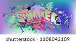 vector colorful summer banner.... | Shutterstock .eps vector #1108042109