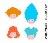 little girl set hairstyles.... | Shutterstock .eps vector #1108051124