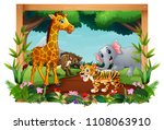 animals are in the forest... | Shutterstock .eps vector #1108063910