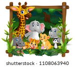 happy wild animals in frame... | Shutterstock .eps vector #1108063940