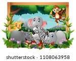 illustration of happy animals... | Shutterstock .eps vector #1108063958