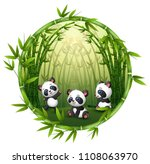 three little panda are playing... | Shutterstock .eps vector #1108063970