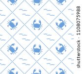 seamless pattern with crabs and ... | Shutterstock .eps vector #1108075988