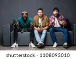 group of exited men sitting... | Shutterstock . vector #1108093010