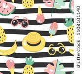 colorful seamless summer... | Shutterstock .eps vector #1108101140