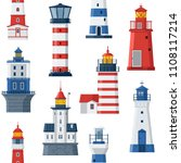 cartoon lighthouse pattern. red ... | Shutterstock . vector #1108117214