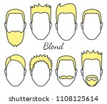 male blond hair and face fungus ... | Shutterstock .eps vector #1108125614