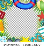 top view of summer holidays... | Shutterstock .eps vector #1108135379