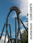 red roller coaster track inside ... | Shutterstock . vector #1108136870