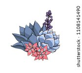 succulents floral composition.... | Shutterstock . vector #1108141490