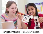 two female pupils in science... | Shutterstock . vector #1108141886
