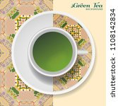 cup of green tea with abstract...   Shutterstock .eps vector #1108142834