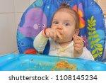9 month children  eating pasta... | Shutterstock . vector #1108145234