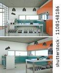 two views of modern kitchen... | Shutterstock . vector #1108148186