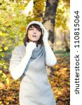 Fashion girl portrait, autumn outdoor. - stock photo