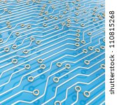 Microcircuit chip chrome scheme over blue reflective surface as technology and science abstract background - stock photo