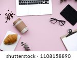 freelancer home office desk... | Shutterstock . vector #1108158890