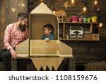 dreams of space. kid happy sit...   Shutterstock . vector #1108159676