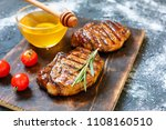 bbq  steak barbecue with... | Shutterstock . vector #1108160510