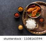 indian dish chicken spicy curry ... | Shutterstock . vector #1108163594