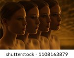 mysterious faces of girls.... | Shutterstock . vector #1108163879