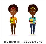 picture of cute student girl in ... | Shutterstock .eps vector #1108178348