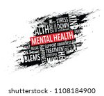 mental health words background | Shutterstock .eps vector #1108184900