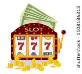 slot machine icon with lucky... | Shutterstock .eps vector #1108186313