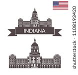state of indiana. state capitol ... | Shutterstock .eps vector #1108193420