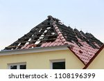 rooftop fire damage    Shutterstock . vector #1108196399